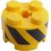 LEGO Brick 2 x 2 Round with Black and Yellow Stripes Sticker (3941)