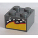 LEGO Brick 2 x 2 with Checkered and Yellow Pattern Sticker (3003)