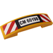 LEGO Bright Light Orange Slope 1 x 4 Curved Double with 'CM60198', Red and White Danger Stripes Sticker