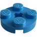 LEGO Dark Azure Plate 2 x 2 Round with Axle Hole (with '+' Axle Hole) (4032)