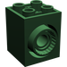 LEGO Dark Green Brick 2 x 2 x 2 with 2 Holes and Click Rotation Ring (41533)