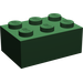 LEGO Dark Green Brick 2 x 3 (3002)