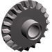 LEGO Dark Stone Gray Bevel Gear with 20 Teeth and Center Pinhole