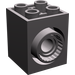 LEGO Dark Stone Gray Brick 2 x 2 x 2 with 2 Holes and Click Rotation Ring