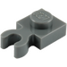 LEGO Dark Stone Gray Plate 1 x 1 with Vertical Clip (Thick Open 'O' Clip) (44860 / 60897)