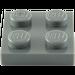 LEGO Dark Stone Gray Plate 2 x 2 (3022)