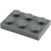 LEGO Dark Stone Gray Plate 2 x 3 (3021)