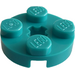 LEGO Dark Turquoise Plate 2 x 2 Round with Axle Hole (with '+' Axle Hole) (4032)