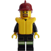 LEGO Firefighter in Uniform with Brown Goatee, Life Preserver, and Dark Red Helmet Minifigure