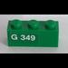 LEGO Green Brick 1 x 3 with 'G 349' (Left) Sticker