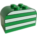 LEGO Green Brick 2 x 4 x 2 with Curved Top with White Stripes
