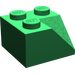 LEGO Green Slope 2 x 2 (45°) with Double Concave (Rough Surface) (3046)