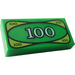 LEGO Green Tile 1 x 2 with 100 Cash with Groove (3069bpx7 / 82317)