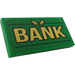 """LEGO Green Tile 2 x 4 with """"BANK"""" and 2 Gold Bars Sticker"""