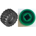 LEGO Green Wheel Rim Wide Ø11 x 12 with Notched Hole with Tire 21mm D. x 12mm - Offset Tread Small Wide with Band Around Center of Tread