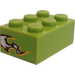 LEGO Lime Brick 2 x 3 with Black/White Flames (Both Ends) Sticker