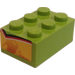 LEGO Lime Brick 2 x 3 with Flames (Both Small Ends) Sticker