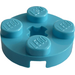 LEGO Medium Azure Plate 2 x 2 Round with Axle Hole (with '+' Axle Hole) (4032)