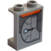 LEGO Medium Stone Gray Panel 1 x 2 x 2 with Armor Plate (Left) Sticker with Side Supports, Hollow Studs
