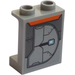 LEGO Medium Stone Gray Panel 1 x 2 x 2 with Armor Plate (Right) Sticker with Side Supports, Hollow Studs