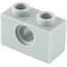LEGO Medium Stone Gray Technic Brick 1 x 2 with Hole (3700)