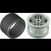 LEGO Medium Stone Gray Wheel Rim Ø30 x 20 with No Pinholes, with Reinforced Rim with Tire Low Wide Ø37 X 22
