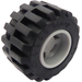LEGO Medium Stone Gray Wheel Rim Wide Ø11 x 12 with Notched Hole with Tire 21mm D. x 12mm - Offset Tread Small Wide with Band Around Center of Tread
