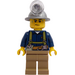 LEGO Miner with Mining Hat, Sweat Drops, Olive Green Suspenders, Tool Belt, and Dark Tan Pants Minifigure