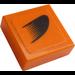 LEGO Orange Tile 1 x 1 with Black Symbol on Orange Left Sticker with Groove