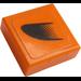 LEGO Orange Tile 1 x 1 with Black Symbol on Orange Right Sticker with Groove