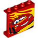 LEGO Panel 1 x 4 x 3 with Lightning McQueen and yellow flames with Side Supports, Hollow Studs (33895 / 60581)