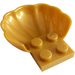 LEGO Pearl Gold Plate 2 x 2 with Half Shell (18970)