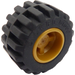 LEGO Pearl Gold Wheel Rim Wide Ø11 x 12 with Notched Hole with Tire 21mm D. x 12mm - Offset Tread Small Wide with Band Around Center of Tread