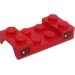 LEGO Red Car Mudguard 2 x 4 with Tail Lights Sticker without Hole