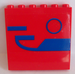 LEGO Red Panel 1 x 6 x 5 with Blue Pattern Sticker