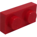 LEGO Red Plate 1 x 2 with Old Version of Bottom