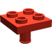 LEGO Red Plate 2 x 2 Inverted with Pin (No Holes in Plate) (2476)