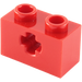 LEGO Red Technic Brick 1 x 2 with Axle Hole (Old Style with '+' Opening) (31493 / 32064)