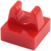 LEGO Red Tile 1 x 1 with Clip (No Cut in Center) (2555 / 12825)