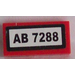 LEGO Red Tile 1 x 2 with 'AB 7288 Sticker