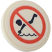LEGO Roadsign Clip-on 2 x 2 Round with Forbidden Jump Into Water Sticker (30261)