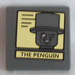 LEGO Roadsign Clip-on 2 x 2 Square with Black Lines on Yellow Background and 'THE PENGUIN' Portrait Sticker with Open 'O' Clip (15210)