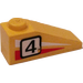 LEGO Slope 25° (33) 1 x 3 with Black Number 4 on Left Side Sticker from Set 6539 (4286)