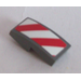 LEGO Slope Curved 1 x 2 x 0.66 with Red and White Danger Stripes Sticker (11477)
