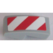LEGO Slope Curved 1 x 2 x 0.66 with red and white danger stripes with red corners - Right Sticker (11477)