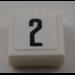 LEGO Fliese 1 x 1 mit '2' Aufkleber mit Groove (3070)