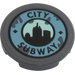 LEGO Tile 2 x 2 Round with 'CITY SUBWAY' Sticker with Bottom Stud Holder (14769)