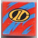 LEGO Tile 2 x 2 (Undetermined Groove) with Blue Streaks and LT Logo Sticker