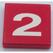 """LEGO Tile 2 x 2 with """"2"""" Sticker with Groove (3068)"""