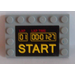 LEGO Tile 4 x 6 with Edge Studs with 'START' and Lap Timer Sticker (6180)